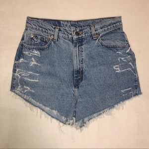 Vintage Levi's 521 Distressed Cut Off Shorts